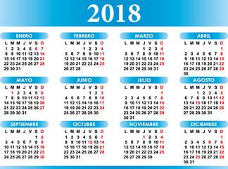 Spanish calendar 2018 with festivities