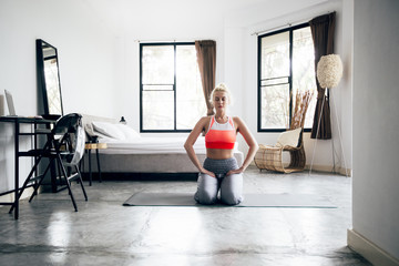 Woman Doing Yoga Indoors