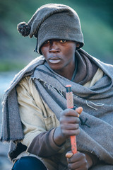 portrait of a rural African Basotho herdsman