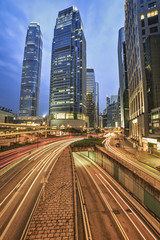 Traffic in the downtown of Hong Kong city at night