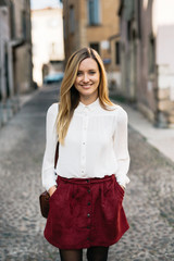 Blond woman in Verona, Italy
