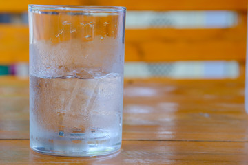 Water in glass on table