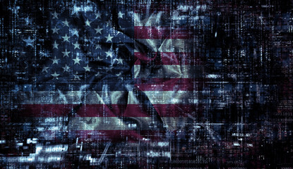 Grunge American flag background with programming code