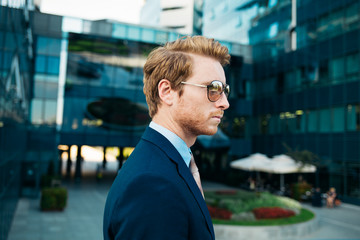 Portrait of a Ginger-Haired Caucasian Businessman