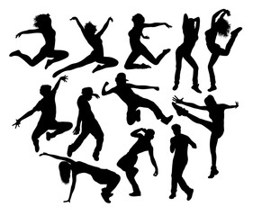 Hip Hop Jumping Silhouettes, art vector design