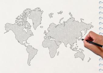 スケッチブックに描いた世界地図