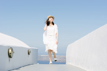 Beautiful chinese girl in Santorini