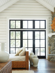 Living room in modern design log cabin