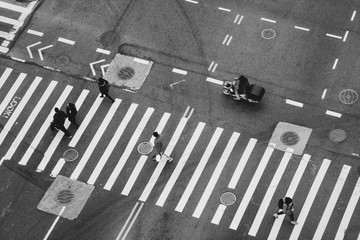 Overhead shot of people walking in the city