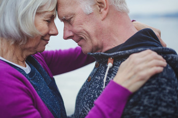 Sincere senior couple leaning foreheads together outside near water
