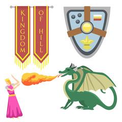 Heraldic royal crest medieval knight elements vintage king symbol heraldry brave hero vector illustration