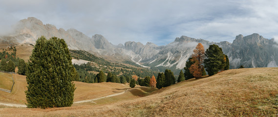 panorama of colorful autumnal landscape in italian alps - dolomi