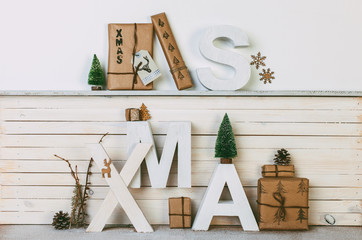 Home Christmas decoration on white background
