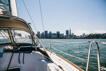 Sailing a yacht in San Francisco Bay, California