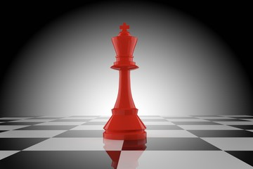 red chess king on chessboard in 3D rendering