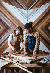 Wood workers working in their art studio