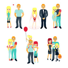 Stages of family life concept poster. Vector cartoon people characters in flat style design. First date, wedding, pregnancy, newborn baby, happy parents. Progress of couple relationships