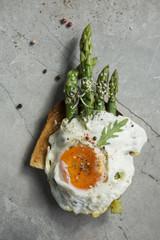 Fried Egg and Asparagus Toast Sandwich