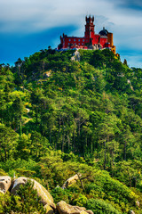 Sintra, Portugal: Pena Palace, Palace da Pena, romanticist summer residence of the monarchs of Portugal, located in Sao Pedro de Panaferrim next to Lisbon