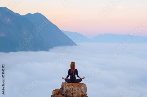 Fototapete Serenity and yoga practicing,meditation in Laos, view from Nong Khiaw village