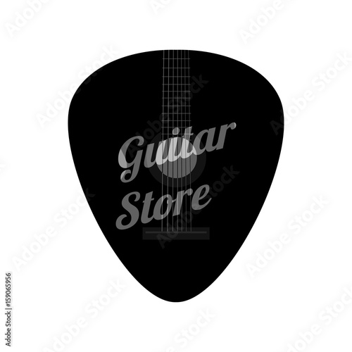Guitar Pick In Flat Style Music Store Logo