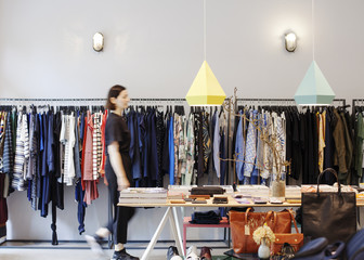 Cool fashion boutique with modern clothing