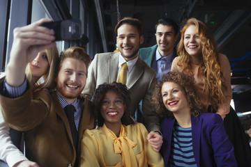 Happy Group of Friends Taking a Selfie
