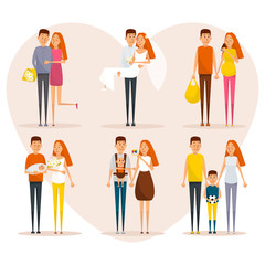 Stages of family life concept poster. Vector cartoon people characters in flat style design. First date, wedding, pregnancy, newborn baby, happy parents. Progress of couple relationships.
