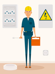 Electrician vector cartoon character. Electric service man with toolbox and screwdriver in hands. High voltage sign.