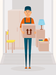 Relocation service concept vector poster. Delivery man cartoon vector character. Man hold the cardboard box. Illustration in flat style design.