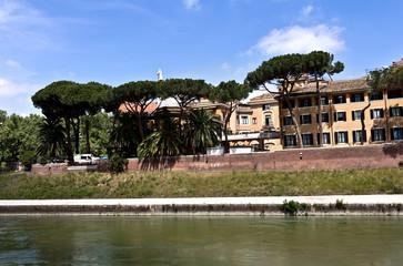 Panoramic view over Isola Tiberina (Tiberina Island), Roma, Italy