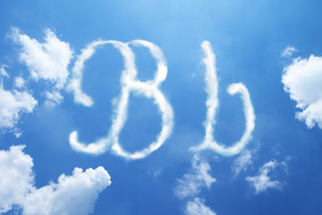 B clouds font calligraphy style ,hand written on sky background.