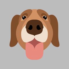 dog  face  vector illustration style Flat cartoon
