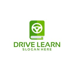 Drive Learn Logo With Book and Steer element
