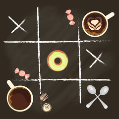 Chalk lettering and cup of Coffee on chalkboard top view. Template of banner or poster. Vector illustration eps 10