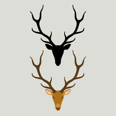 deer head  vector illustration style Flat  silhouette