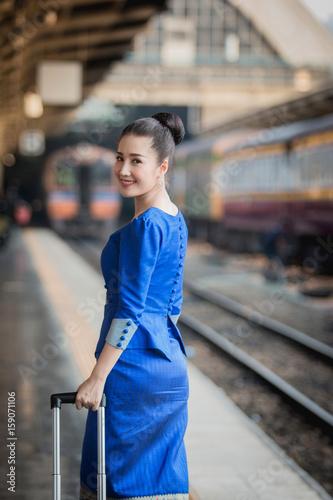 Beautiful Thai girl in Thai costume,Asian woman wearing