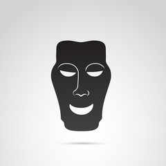 Ancient greek theater mask vector icon. Happiness.