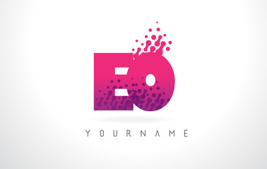 EO E O Letter Logo with Pink Purple Color and Particles Dots Design.