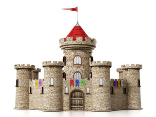 Fantastic medieval castle isolated on white background