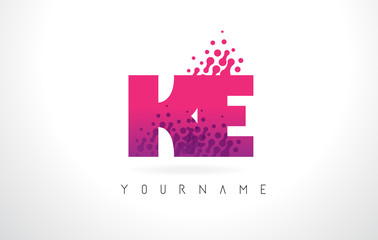 Ke K E Letter Logo With Pink Purple Color And Particles Dots Design