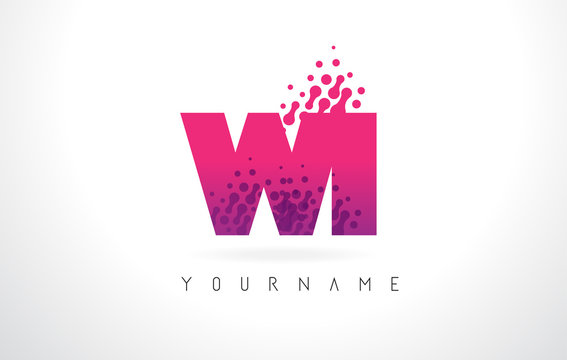 WI W I Letter Logo with Pink Purple Color and Particles Dots Design.