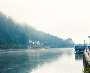 Idyllic misty morning mood in Passau, Germany