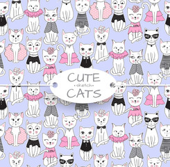 Vector funny cat seamless pattern. Cute kitten hand drawn illustration. Stylish cartoon animals background. Ideal for fabric, wallpaper, wrapping paper, textile, bedding, t-shirt print.