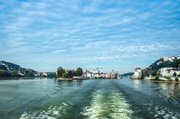 Idyllic morning mood, leaving Passau by ship, Germany, Donau