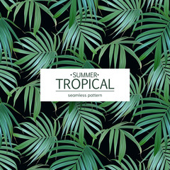 Vector Tropical palm leaves seamless pattern. Floral exotic Hawaiian background. Banana leaf. Hand drawn jungle plants. Ideal for fabric,wallpaper,wrapping paper, textile, bedding,t-shirt print.