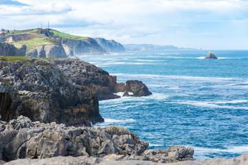 Idyllic panorama view of cliffs in Asturias, Camino de Santiago, Spain