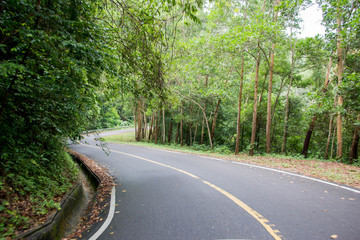 asphalt road up to the hill