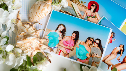 Photos of the company of girls on the beach on vacation