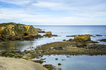 Idyllic beach in Asturias on a day in spring in Spain